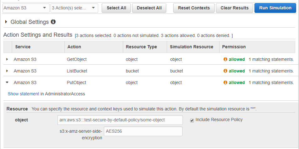 Testing an S3 policy using the AWS IAM Simulator – qualimente